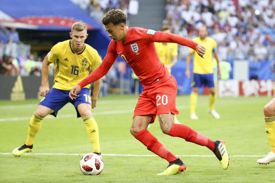 Dele Alli of England during the 2018 FIFA World Cup Russia Quarter Final match between Sweden and England at Samara Arena on July 7, 2018 in Samara, Russia. (Getty Images)