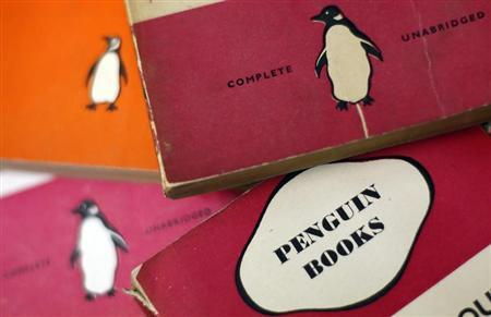 Penguin books are seen in a used bookshop in central London