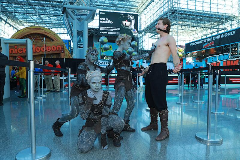 Cosplayers dressed as Children of the Forest from The Game of Thrones attend New York Comic Con 2019 at the Jacob Javits Center on Oct. 5, 2019 in New York City. (Photo: Gordon Donovan/Yahoo News)