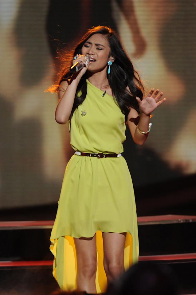 "Jessica Sanchez performs ""Dance with My Father"" by Luther Vandross on ""<a target=""_blank"" href=""http://tv.yahoo.com/american-idol/show/34934"">American Idol</a>."""