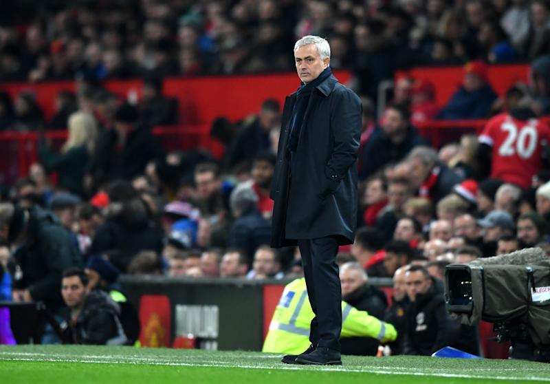 MANCHESTER, ENGLAND - DECEMBER 04: Jose Mourinho, Manager of Tottenham Hotspur looks on during the Premier League match between Manchester United and Tottenham Hotspur at Old Trafford on December 04, 2019 in Manchester, United Kingdom. (Photo by Stu Forster/Getty Images)