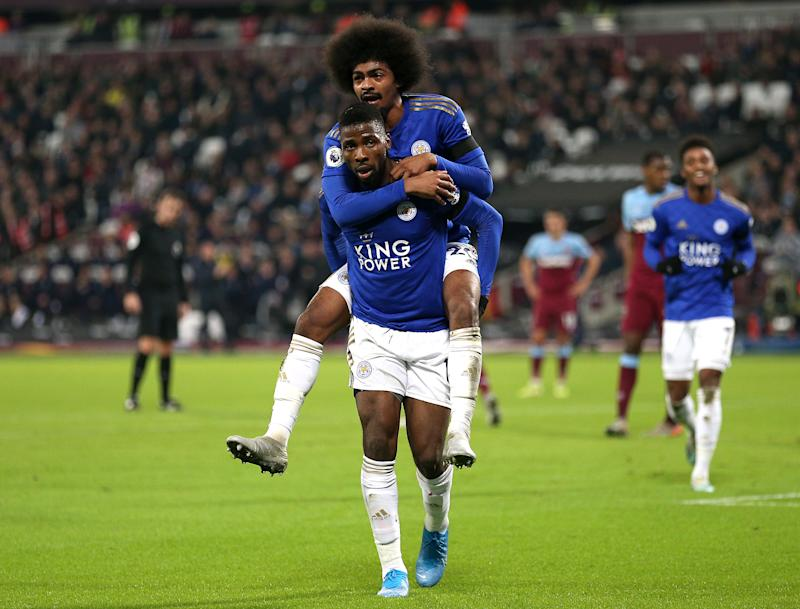 Leicester City's Kelechi Iheanacho (centre) celebrates scoring his side's first goal of the game with team-mates West Ham United v Leicester City - Premier League - London Stadium 28-12-2019 . (Photo by Nigel French/EMPICS/PA Images via Getty Images)