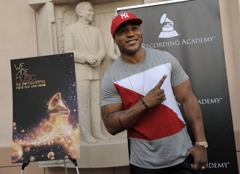 "LL Cool J poses at the premiere of the documentary film ""A Death In The Family: The Show Must Go On,"" at the Leonard H. Goldenson Theatre on Monday June 11, 2012 in Los Angeles. The film features rare behind-the-scenes footage from this year's 54th Annual GRAMMY Awards. (Photo by Chris Pizzello/Invision/AP)"
