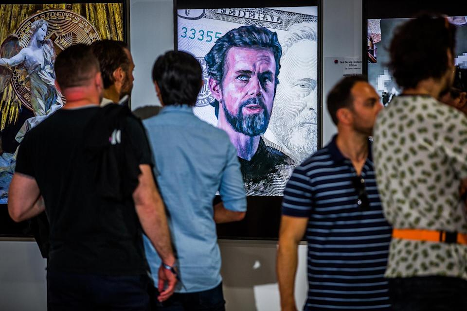 A painting of Twitter co-founder and CEO, Jack Dorsey - Credit: Ian Witlen for Rolling Stone