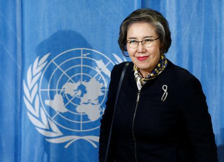 Special Rapporteur on the situation of human rights in Myanmar Lee addresses a news conference at the UN in Geneva