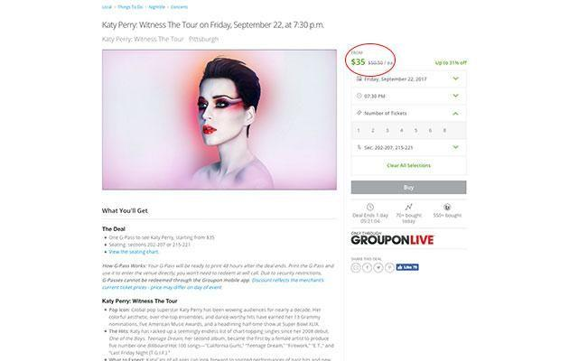 The Groupon US site which has discounted the tickets. Source: Groupon