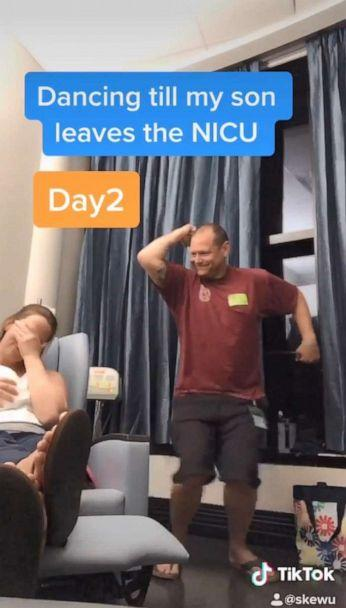 PHOTO: Chris Askew of Osteen, Florida, has danced in 23 videos viewed by 6 million. Askew is dancing every day until his son Dylan heads home from the NICU. (TikTok/skewu)