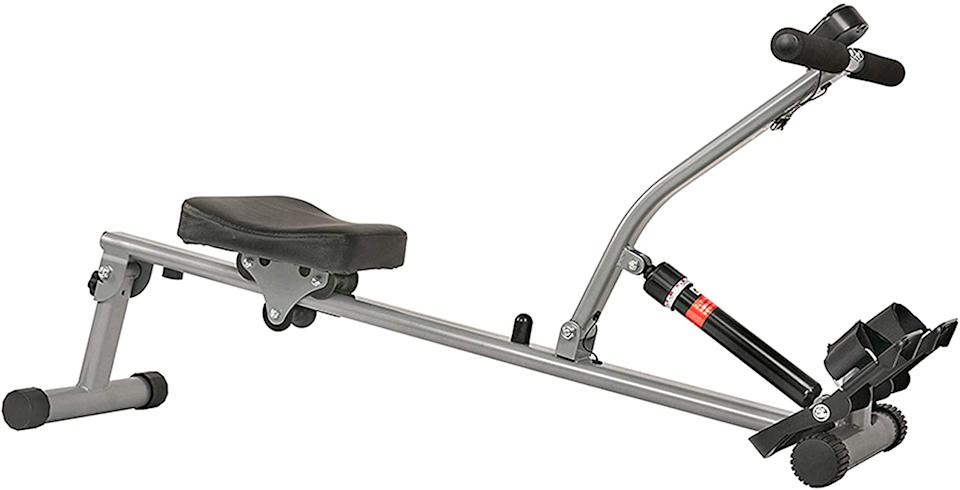 Save 15% on the Sunny Health and Fitness Rowing Machine. Image via Amazon.