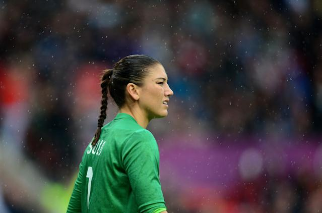 Jul 31, 2012; Manchester , United Kingdom; USA goalie Hope Solo in the rain against North Korea during the women's preliminary round in the London 2012 Olympic Games at Old Trafford. USA defeated North Korea 1-0. Mandatory Credit: Mark J. Rebilas-USA TODAY Sports