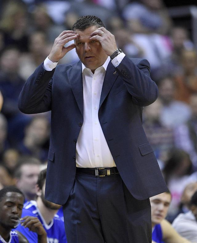 Creighton head coach Greg McDermott reacts during the first half of an NCAA college basketball game against Georgetown, Saturday, Jan. 3, 2015, in Washington. Georgetown defeated Creighton 76-61. (AP Photo/Nick Wass)