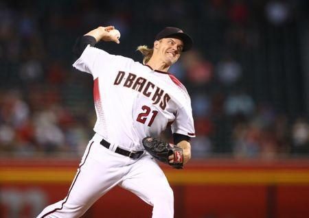 May 15, 2019; Phoenix, AZ, USA; Arizona Diamondbacks pitcher Zack Greinke in the eighth inning against the Pittsburgh Pirates at Chase Field. Mandatory Credit: Mark J. Rebilas-USA TODAY Sports