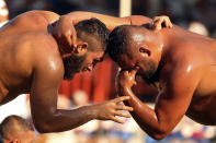 Wrestlers, doused in olive oil, compete during the 660th instalment of the annual Historic Kirkpinar Oil Wrestling championship, in Edirne, northwestern Turkey, Saturday, July 10, 2021.Thousands of Turkish wrestling fans flocked to the country's Greek border province to watch the championship of the sport that dates to the 14th century, after last year's contest was cancelled due to the coronavirus pandemic. The festival, one of the world's oldest wrestling events, was listed as an intangible cultural heritage event by UNESCO in 2010. (AP Photo/Emrah Gurel)