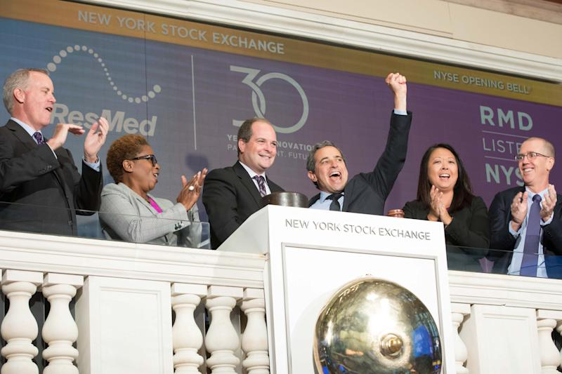 ResMed CEO Mick Farrell rings the NYSE Opening Bell in celebration of 20 years listed on the NYSE and 30 years since its founding.
