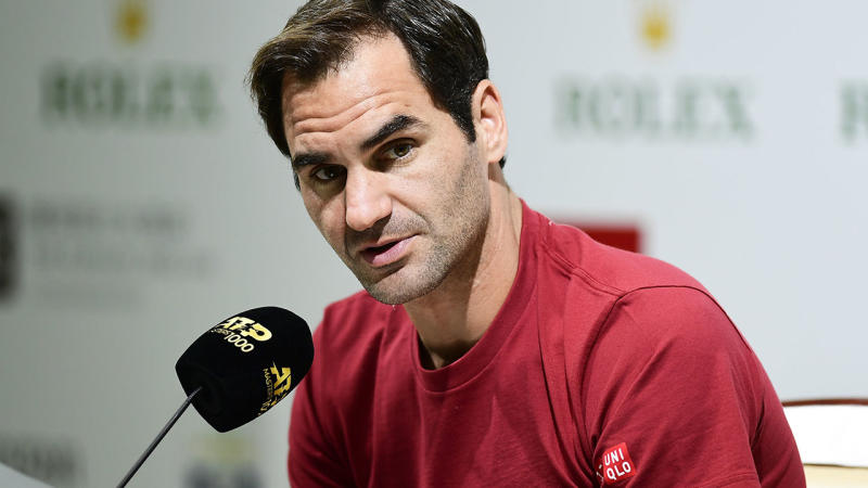 Roger Federer, pictured here speaking with the media at Shanghai Masters.