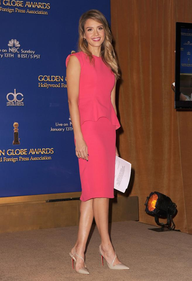LOS ANGELES, CA - DECEMBER 13:  Actress Jessica Alba poses during the 70th Annual Golden Globes Awards Nominations at the Beverly Hilton Hotel on December 13, 2012 in Los Angeles, California.  (Photo by Kevin Winter/Getty Images)