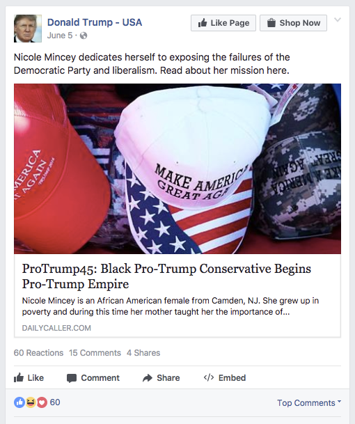 This Facebook account appears to be unrelated to Trump's official page.