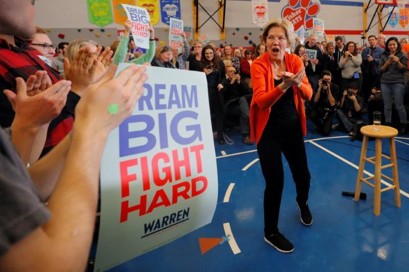 Democratic 2020 U.S. presidential candidate Warren reacts  at the end of a campaign town hall meeting in Marshalltown