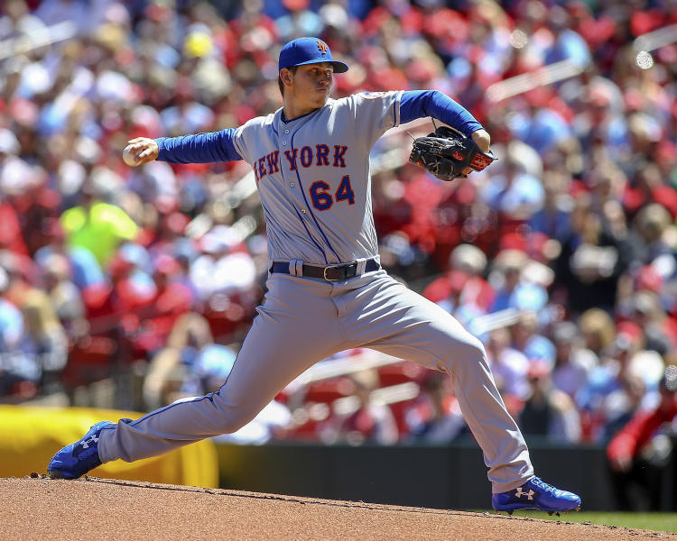 New York Mets starting pitcher Chris Flexen (64) throws during the first inning of a baseball game against the St. Louis Cardinals Saturday, April 20, 2019, in St. Louis. (AP Photo/Scott Kane)