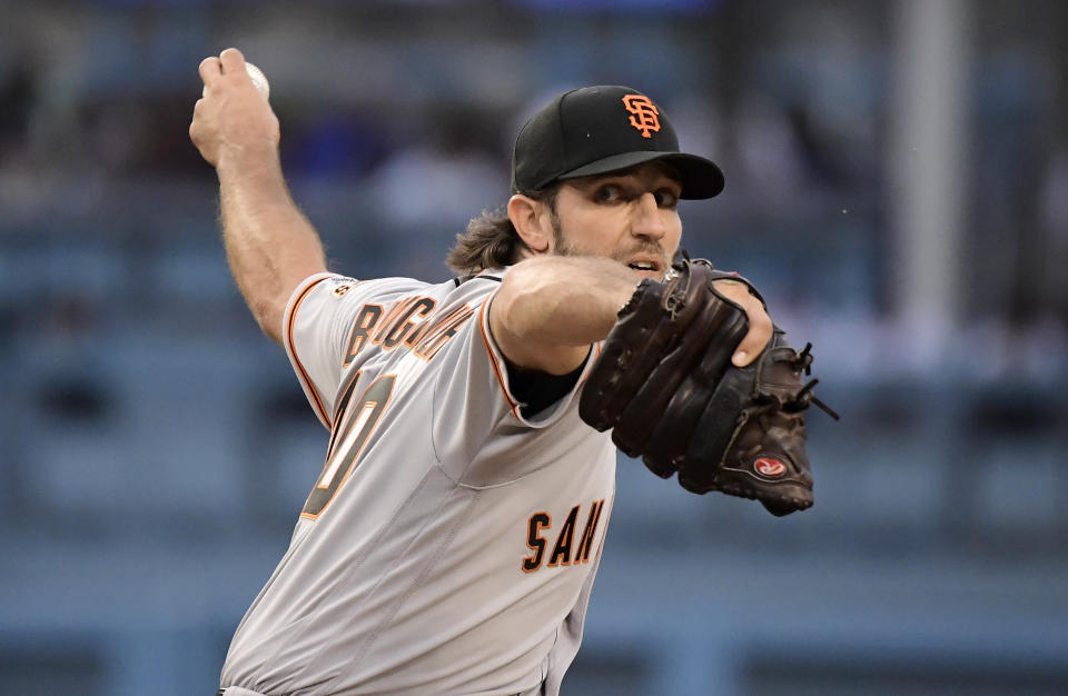 The Dodgers welcomed Giants ace Madison Bumgarner to Dodger Stadium with all kinds of taunts. (AP Photo/Mark J. Terrill)