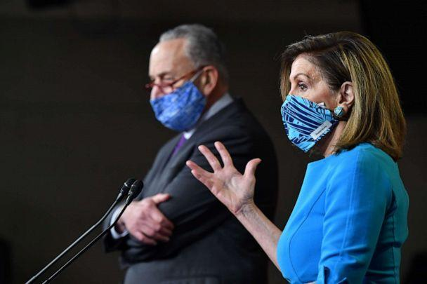 PHOTO: Speaker of the House, Nancy Pelosi, and Senate Minority Leader Chuck Schumer hold a press briefing on Capitol Hill in Washington, D.C., Nov. 6, 2020. (Nicholas Kamm/AFP via Getty Images, FILE)