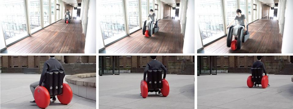 Several shots of the Poimo inflatable wheelchair in action.