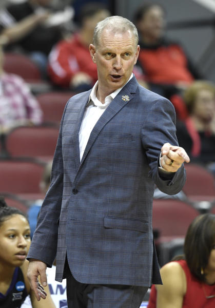 Kansas State head coach Jeff Mittie directs his team during the second half a first-round game against Michigan in the NCAA mens college basketball tournament in Louisville, Ky., Friday, March 22, 2019. Michigan won 84-54. (AP Photo/Timothy D. Easley)