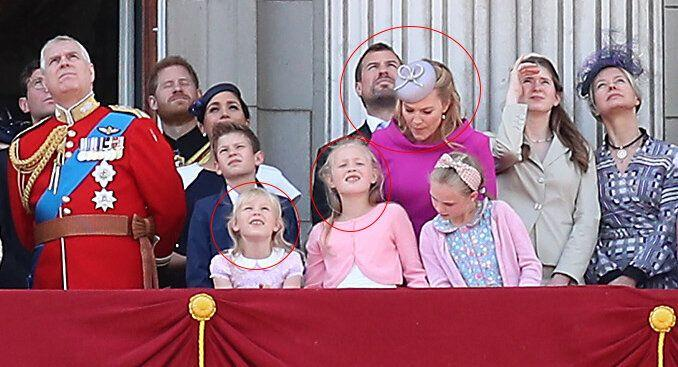 Peter and Autumn Phillips and their daughters Isla and Savannah Phillips pictured at Trooping the colour 2019