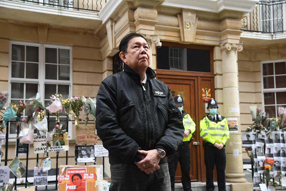 """<p>Kyaw Zwar Minn described the apparent seizing of the embassy by the military junta as """"a coup d'état in central London"""".</p> (PA)"""