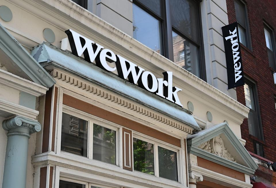 A WeWork office is seen in New York City on July 19, 2019. - With its free coffee, couches and glass partitions, shared workspace startup WeWork has shaken up both office culture and commercial real estate. Brushing aside questions about its business model, the New York outfit shows no signs of slowing down and is now preparing for its Wall Street debut to raise fresh capital. (Photo by TIMOTHY A. CLARY / AFP) (Photo credit should read TIMOTHY A. CLARY/AFP via Getty Images)