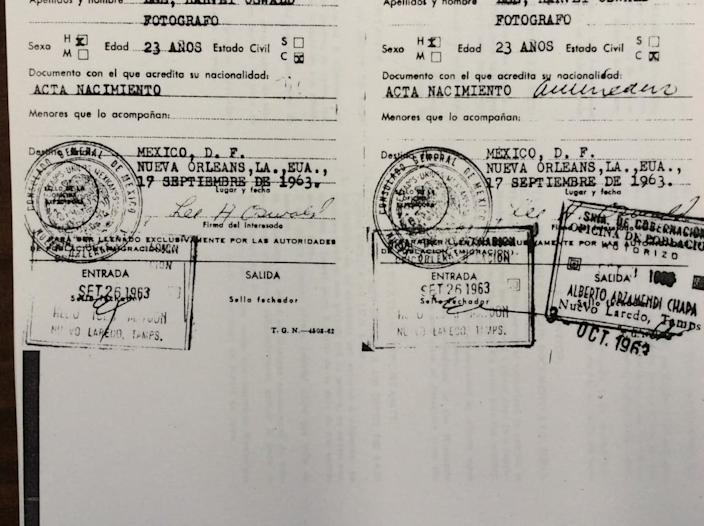 """<div class=""""inline-image__caption""""><p>Lee Harvey Oswald's Mexico visa from 1963, with entry and exit stamps.</p></div> <div class=""""inline-image__credit"""">Mexican Secretary of the Interior</div>"""