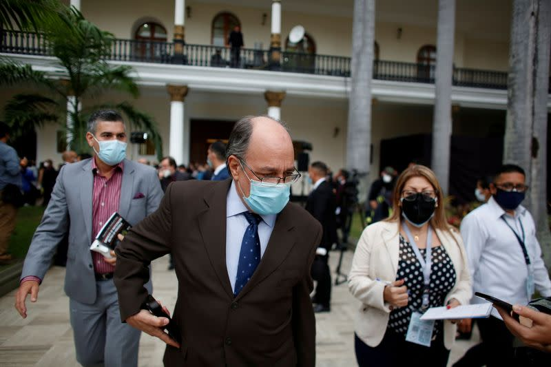 FILE PHOTO: Pedro Calzadilla, new director of the National Electoral Council, is seen at the end of the extraordinary session of the National Assembly of Venezuela in Caracas