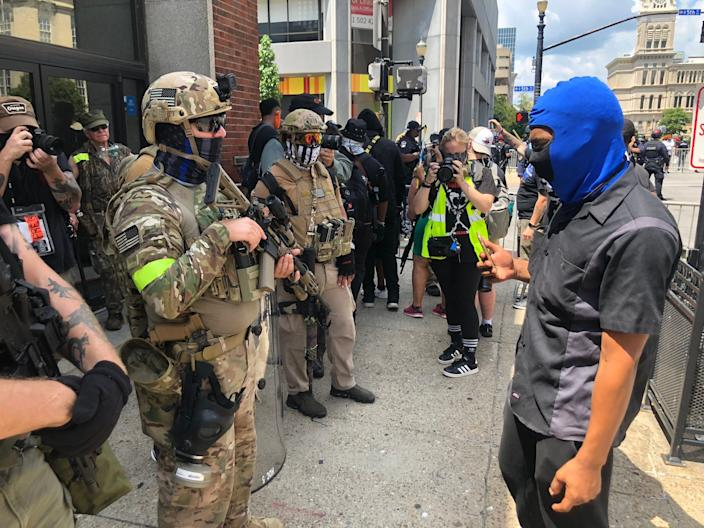More than 40 Three Percenters demonstrated Saturday at Black Lives Matter protest in Louisville, Kentucky. July 25, 2020