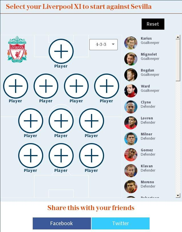 Select your Liverpool XI to start against Sevilla