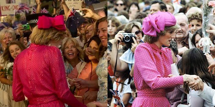 <p>Through the crowds of well-wishers in Sydney, Australia, Princess Diana could be spotted in a bright pink dress and fascinator. <em>The Crown </em>opted for a similar outfit when depicting the Princess interacting with people during a walkabout. </p>