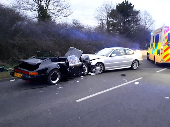 Pasat failed to clear his windscreen and collided head on with a Porsche 911. (Cambridgeshire Constabulary/SWNS)