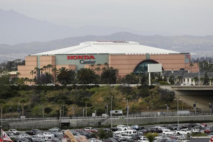 """The Honda Center in Anaheim will be a drive-thru polling site for the November general election. <span class=""""copyright"""">(Jae C. Hong / Associated Press)</span>"""