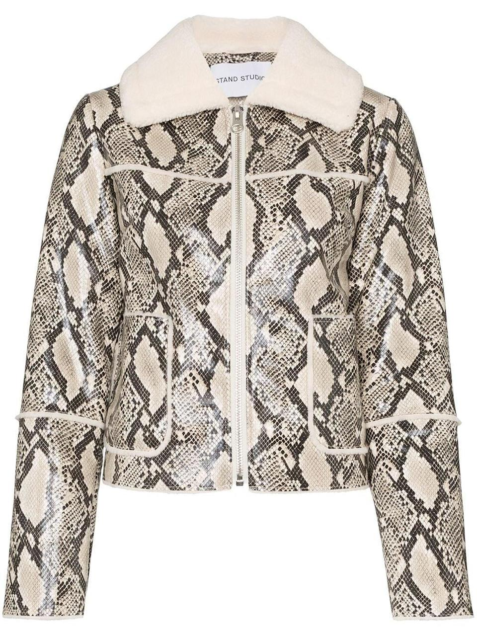 """<br><br><strong>Stand Studio</strong> Faux Shearling Jacket, $, available at <a href=""""https://www.farfetch.com/uk/shopping/women/stand-studio-maj-snake-print-faux-shearling-jacket-item-14635914.aspx?size=18&storeid=9359&clickref=1011lbPUeZrm&utm_source=shopstyleukmain&utm_medium=affiliate&utm_campaign=PHUK&utm_term=UKNetwork&pid=performancehorizon_int&c=shopstyleukmain&clickid=1011lbPUeZrm&af_siteid=1011l18163&af_sub_siteid=1011l271&af_cost_model=CPA&af_channel=affiliate&is_retargeting=true"""" rel=""""nofollow noopener"""" target=""""_blank"""" data-ylk=""""slk:Farfetch"""" class=""""link rapid-noclick-resp"""">Farfetch</a>"""