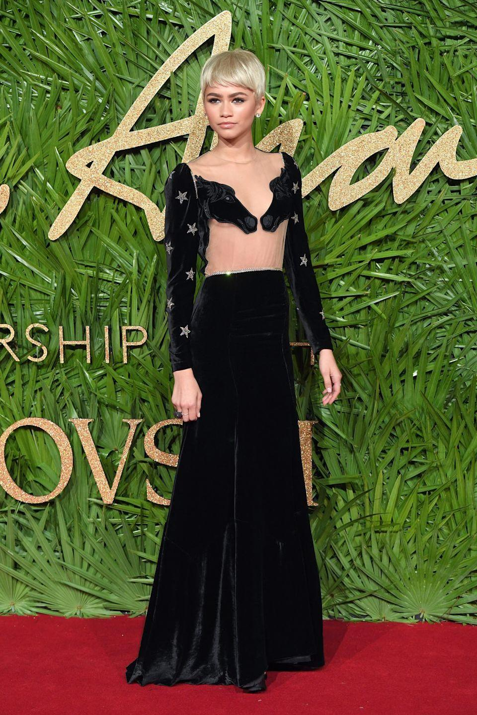 """<p>Zendaya wore Vivetta<span class=""""redactor-invisible-space""""> to The Fashion Awards, 2017.</span></p>"""