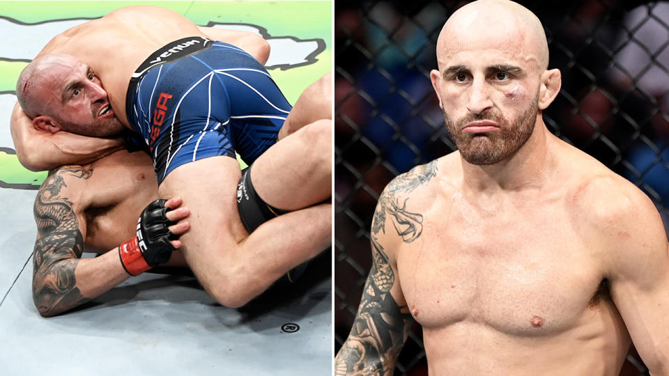 Alexander Volkanovski, pictured here after escaping a number of submissions from Brian Ortega.