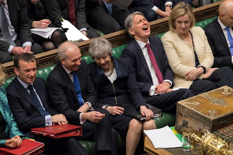 Theresa May and Cabinet ministers in the Commons (EPA)
