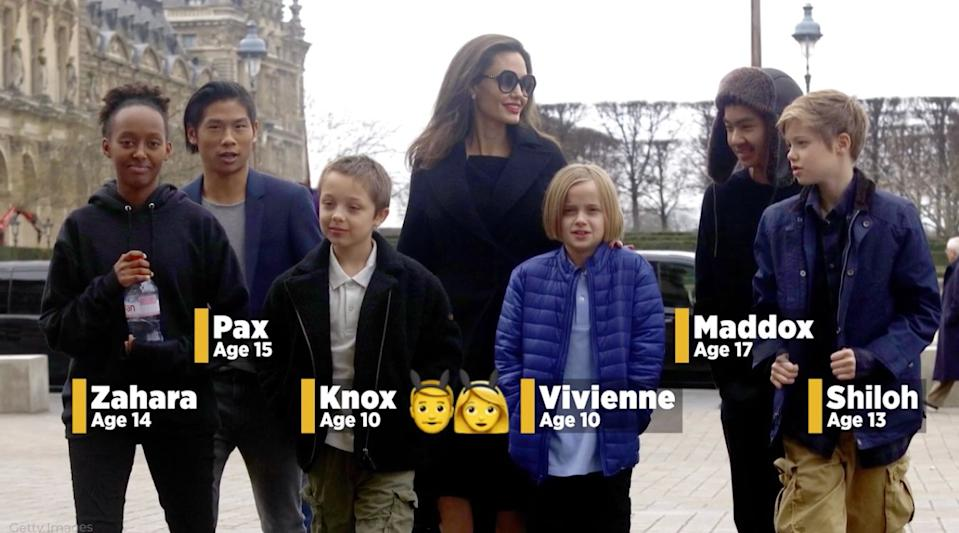 Roll call! Here are the ages of all the Jolie-Pitt kids these days. (Screenshot: Yahoo)