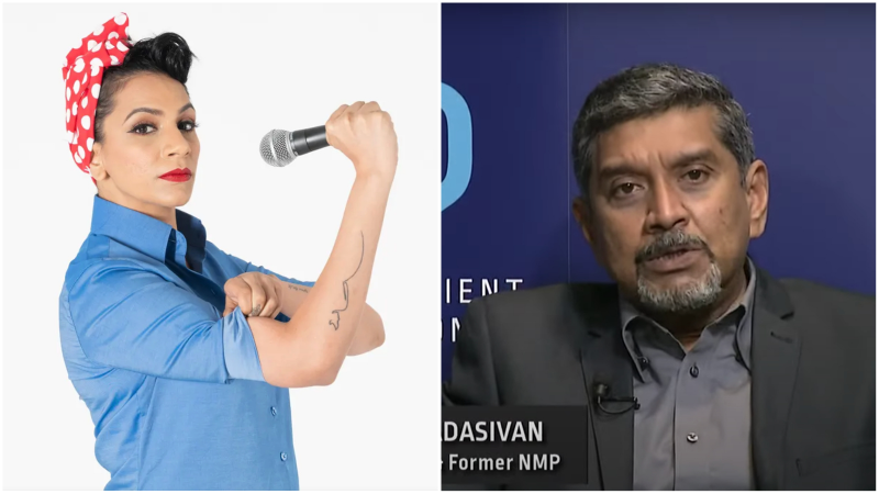 Comedian Sharul Channa in a promotional image, at left. Viswa hosts a panel discussion on Wednesday, at right. Photos: Klook, NUSS/YouTube
