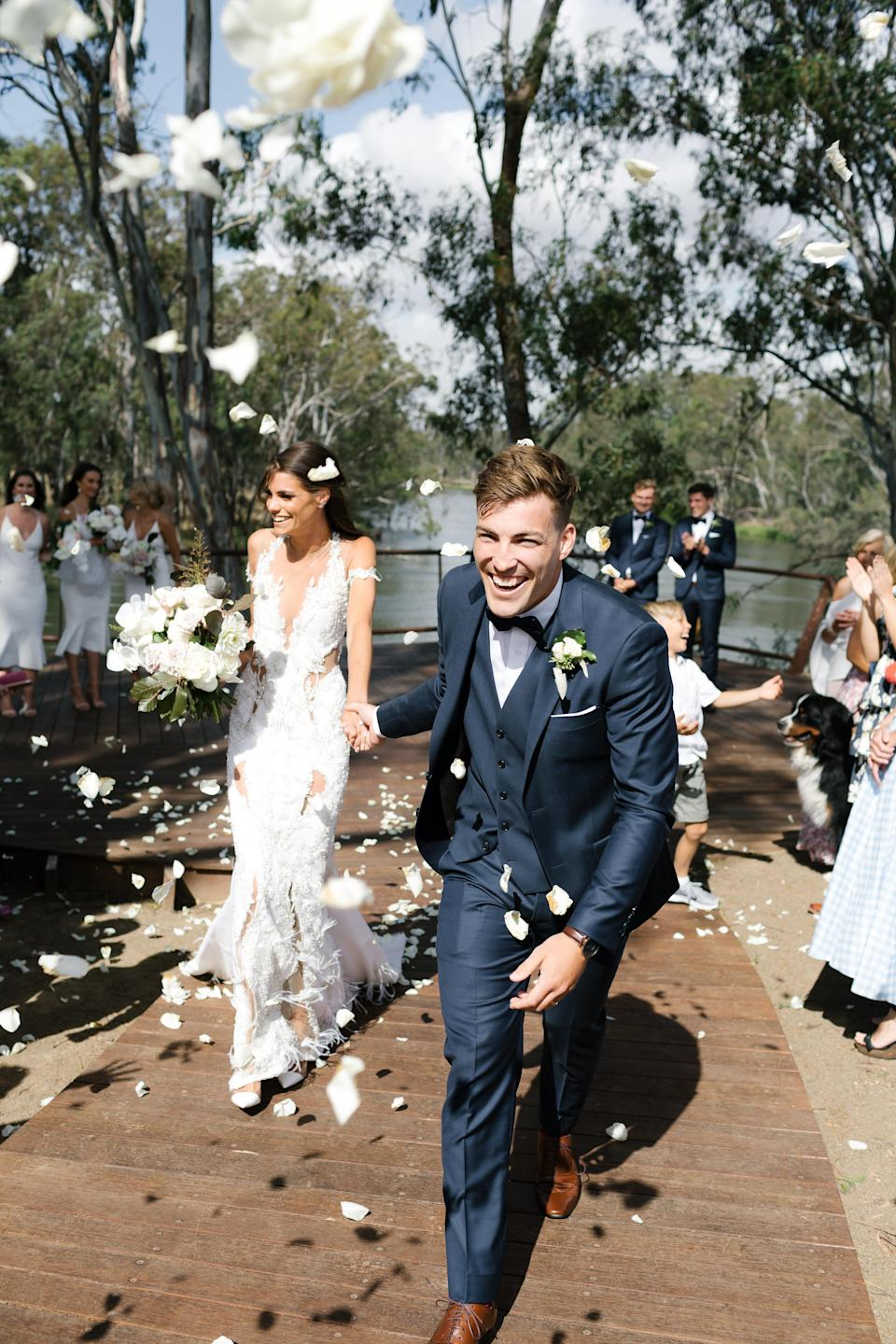 AFL star Jack Viney and Charlotte Ennels tied the knot in a beautiful ceremony over the weekend. Photo: Chloe May