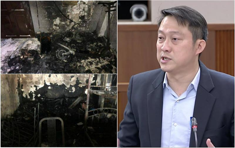 Senior Minister of State for Transport Lam Pin Min. (PHOTOS: SCDF/Facebook page, Parliament screencap)