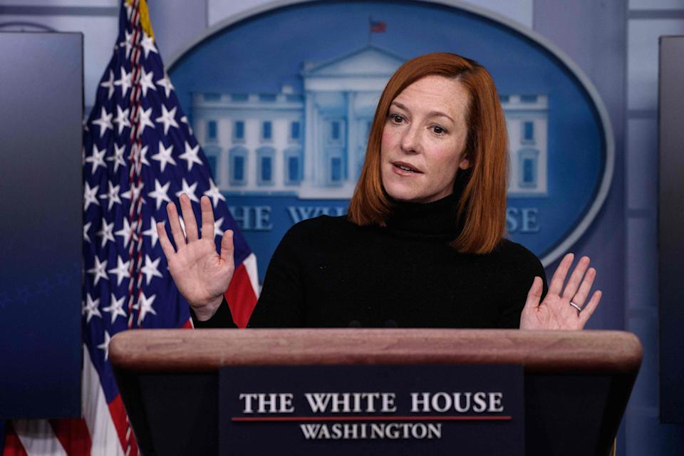 <p>White House Press Secretary Jen Psaki speaks during a news briefing at the James Brady Press Briefing Room of the White House February 16, 2021 in Washington, DC. </p> (AFP via Getty Images)