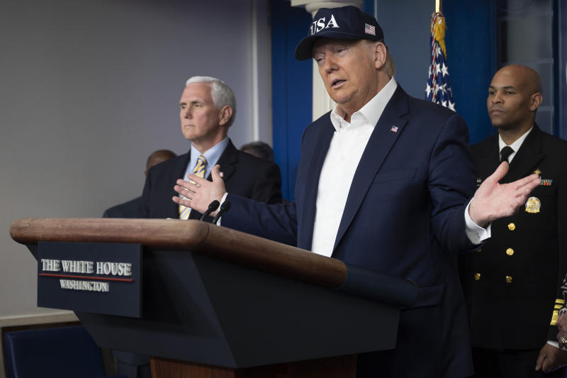 US President Donald Trump speaks during a press briefing about the Coronavirus (COVID-19) alongside US Vice President Mike Pence (L) and members of the Coronavirus Task Force in the Brady Press Briefing Room at the White House in Washington, DC, March 14, 2020. - President Donald Trump says he has taken coronavirus test, no result yet. (Photo by JIM WATSON / AFP) (Photo by JIM WATSON/AFP via Getty Images)