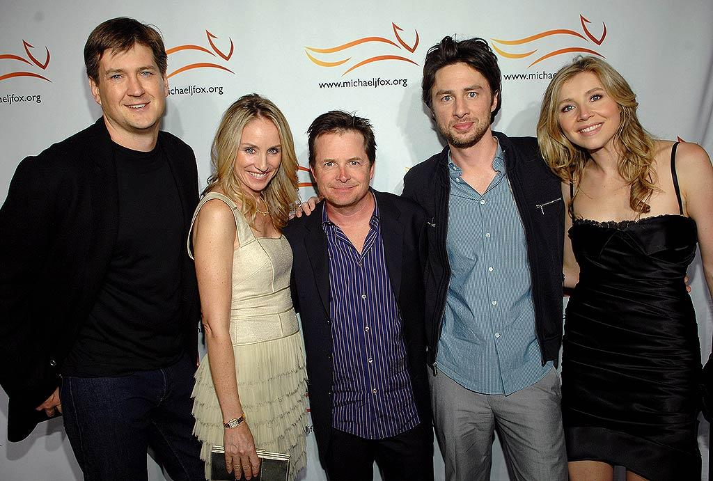 """Scrubs"" creator Bill Lawrence (far left) and stars Zach Braff and Sarah Chalke joined Michael J. Fox and his wife Tracy at the Parkinson's Research Poker Fundraiser on Thursday. The hospital sitcom will be moving to ABC next season. John Shearer/<a href=""http://www.wireimage.com"" target=""new"">WireImage.com</a> - May 8, 2008"