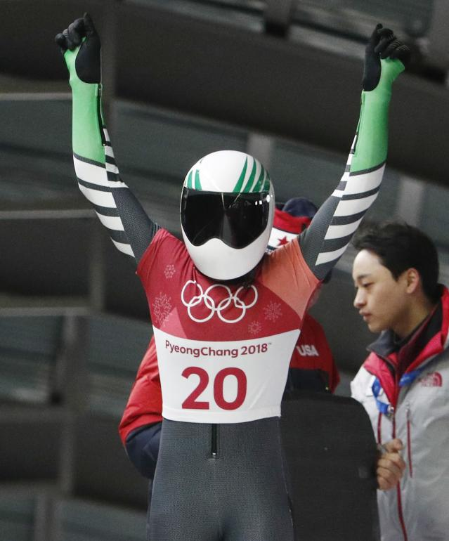 Pyeongchang 2018 Winter Olympics Skeleton - Pyeongchang 2018 Winter Olympics - Women's Finals - Olympic Sliding Centre - Pyeongchang, South Korea - February 17, 2018 - Simidele Adeagbo of Nigeria reacts. REUTERS/Edgar Su