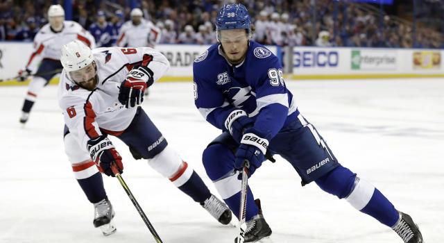 Tampa Bay Lightning defenseman Mikhail Sergachev is solid bet to take a step forward this season. (Chris O'Meara/AP)