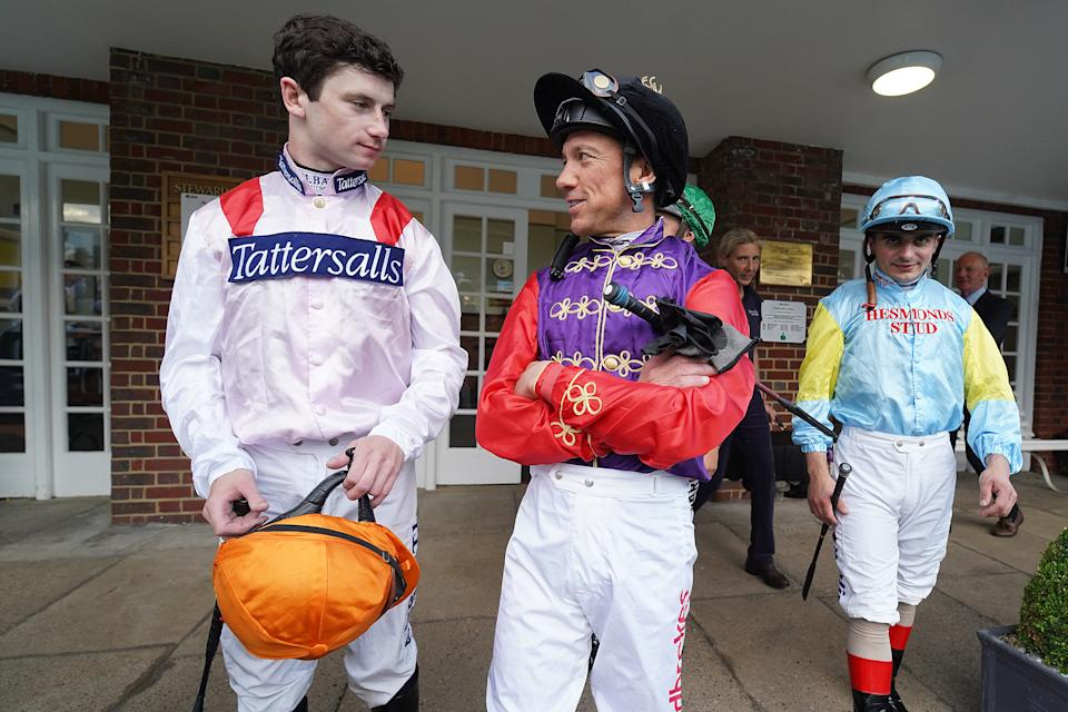 Champion Jockey Oisin Murphy, left, chats with Frankie Dettori, who he admits was his greatest hero growing up